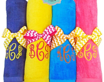 Monogrammed Beach Towel, Large Custom Embroidered Towels, Plush Velour Beach Towels with Custom Embroidery, Monogrammed Towels for Him & Her