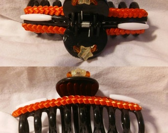 Cute black jawclip with ribbon and beads