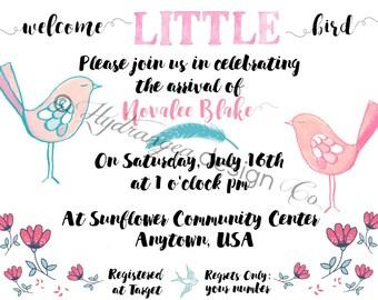 Baby Shower Invitation, vintage, baby bird, personalized, custom, handmade