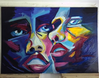 Oil Painting Abstract Peoples Large