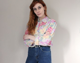 SALE Vintage 90s Semi Sheer Multi-Coloured Floral Blouse - Large