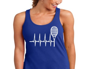 Tennis Heart Beat T-Shirts, Tennis lovers Tshirts, Tennis Tank Tops, Tennis Tshirts