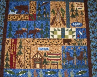 "WILDERNESS BEAR COUNTRY Flannel Applique/Pieced Quilt Kit Or Block Of The Month - 60"" x 82"", Fishing Country Camp Quilt, Man Cave Quilt"