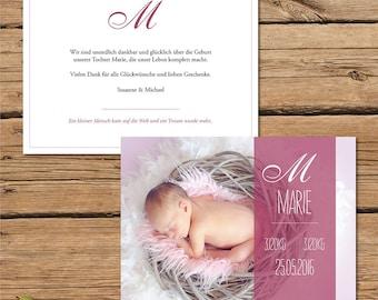 Thank you card, birthday card / birth / baby card