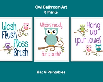Owl Bathroom Prints, Kids Bathroom, Printable Owl Decor, Children's Bathroom Wall Art, Wash Flush Floss Brush, Bath Art, Instant Download