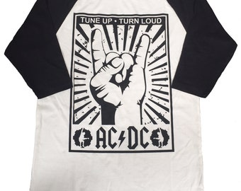 A Tribute To ACDC Men's Baseball 3/4 Sleeve Tee New