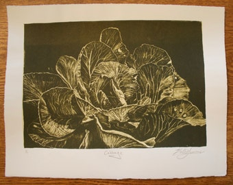 Cabbage - Green & Standard White - Lithograph