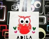 Owl Felt Applique Totebag/Felt Name Applique Personalised Totebag/School Totebag/ Handmade Gift/