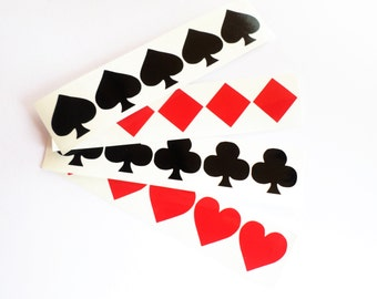 40 Suit playing cards decals Vinyl card symbol Suite wall decor Envelope seals Removable wallpaper Poker night stickers Vinyl cards stickers