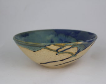 Blue and green large serving bowl