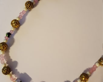 Pink and White Cloisonne Necklace