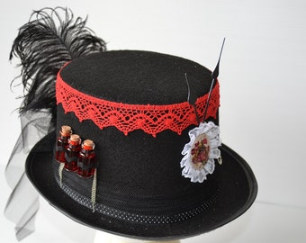 Hat Steampunk lace Red