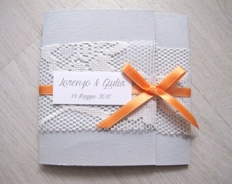 Partecipazione Matrimonio / Battesimo Shabby Chic Grigio e Pesca - Vintage Wedding invitation Gray and Peach