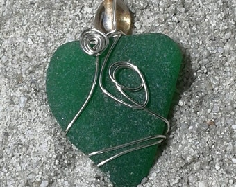 Lush Green Sea Glass Necklace