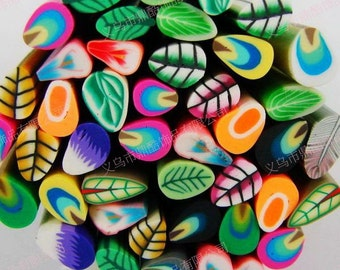 5 Leaf Feather Fimo Canes / Feather Polymer Clay Rod Sticks / DIY Fimo Nail Art Tips / Fimo Crafts Supplies Stickers Beads Slices