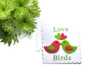 Felt Love Birds Anniversary/Valentines/Birthday Card