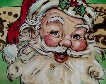 Christmas Santa Pyrography with paint on wood plaque, sign