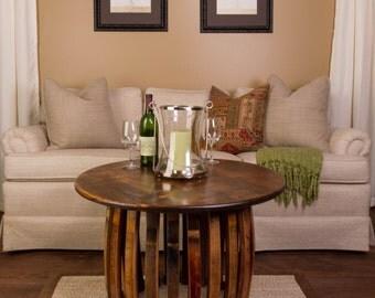1039 Vintage Wine Barrel Stave and Hoop Coffee Table