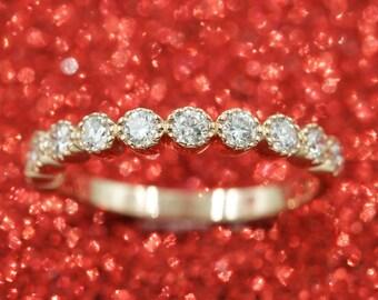 Diamond Wedding Band.1/2 Bezel Eternity Band.Solid 14K White Gold Eternity Band Ring.Simple Wedding Band 0.51Ct F-G/VS High Quality Diamonds