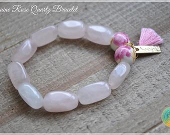 Rose Quartz Bracelet Madagascar Rose Quartz Bracelet 12mm Stretch Bracelet Reik Bracelet Pink Bracelet Rose Quartz Jewelry Rose Quartz Beads