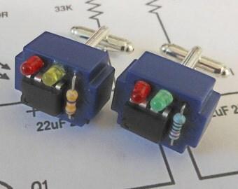 Electronic component steampunk cufflinks (blue breadboard)