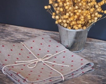 Linen napkins set of 2, 4, 6 or 8 Polka dot napkins, Variuos sizes, Grey napkins with red polka dots, Table decoration, Dining