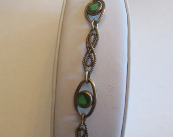 Vintage 1930's Open Back Green Crystal Bracelet