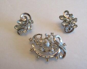 Vintage marked TRIFARI Rhinestone Pin and Clip Earring set