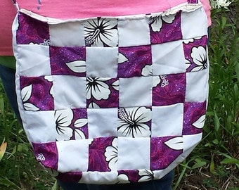 Purple Flower Quilted Tote Bag
