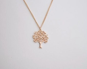 apple tree necklace gold necklace everyday necklace bridesmaid necklace Christmas necklace
