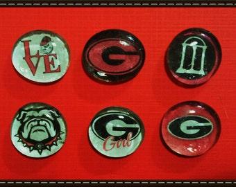 University of Georgia Glass Magnet set