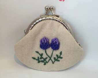 Frame purses/wallet/pouch: Embroidery, lavender
