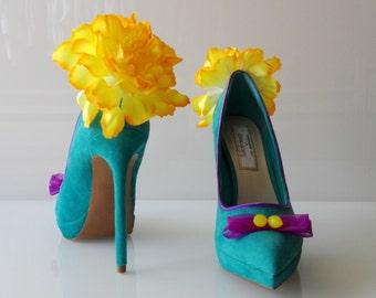 """Pumps """"Summer dream"""" Flowers Kwiaty Blumen Turquoise Turkusowy Türkis Lemons Cytryny Zitronen Suede Zamsz Wildleder"""