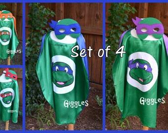 Set of All 4 - Teenage Mutant Turtle Cape & Mask Set - Kids Costume - Superhero - Halloween - Dress Up - Birthday Party Favors - Capes Masks