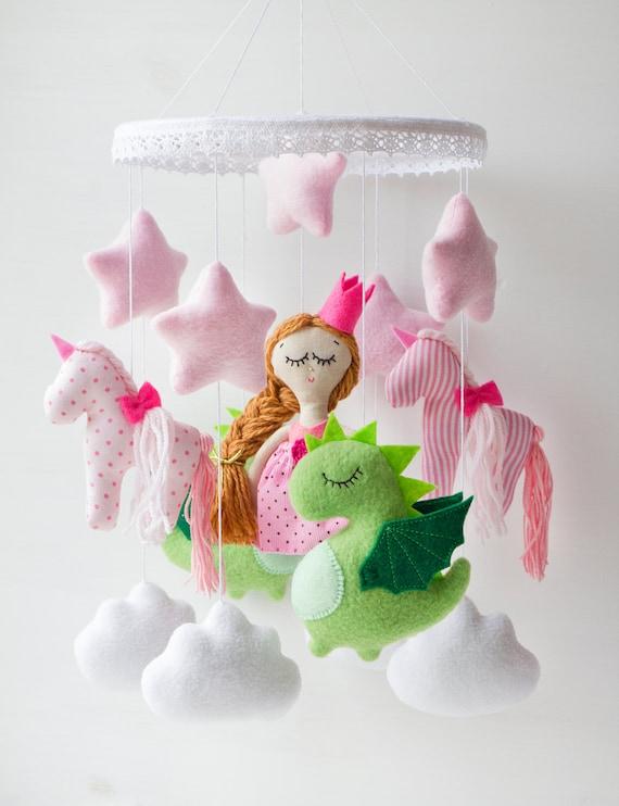 Princess unicorn mobile baby dragon crib pink magic mobile for for Princess crib mobile