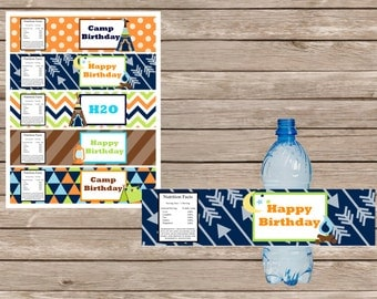 Camping Party Digital Water Bottle Labels--Boy
