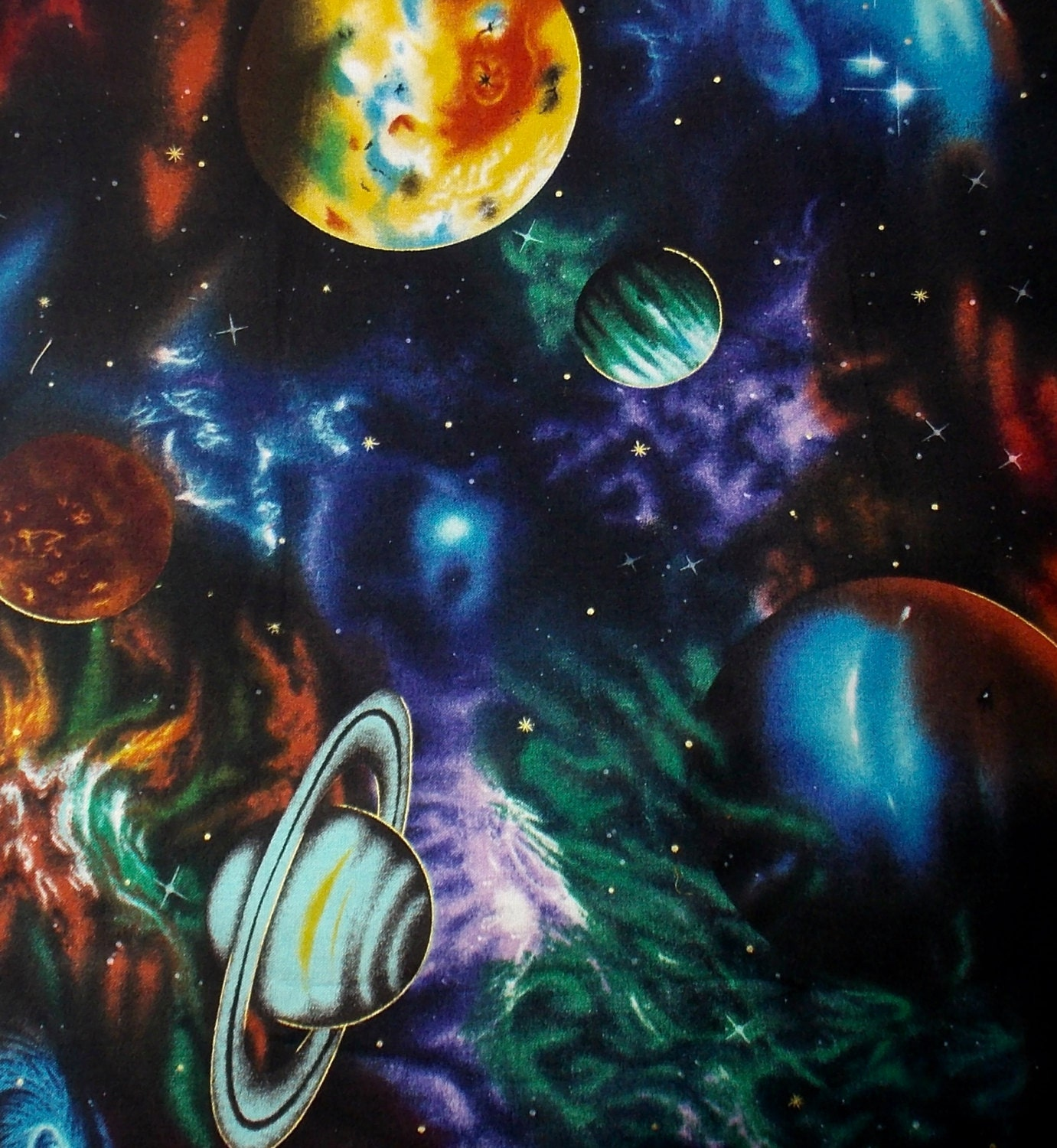 Outer space fabric galaxy fabric solar system fabric quilting for Space fabric
