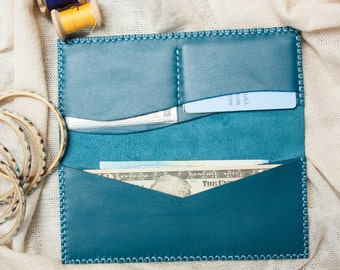 Secret Wave - Genuine Leather Handmade Wallet long wallet handmade wallet leather wallet mens wallet womens wallet,travel wallet