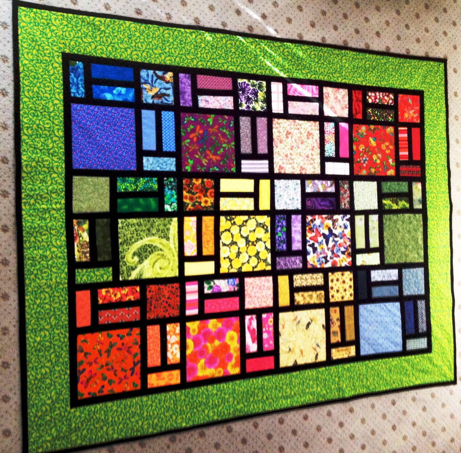 Quilt pattern stained glass by sew4fun for Window pane quilt design