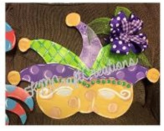 Mardi Gras Door Hanger, Wooden, Custom Made
