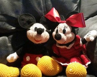 Mickey and Minnie Plushies - Disney - Kids Toys - Hand Crocheted