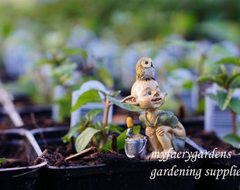 Miniature Fairy Garden Pixie Gardening with Shovel and Bucket Pixie and Owl