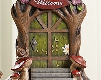 Miniature Dollhouse FAIRY GARDEN ~ Woodland Fairy Gnome Door - Welcome  ~ NEW