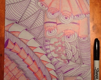 Purple and red on Gray Zentangle inspired art