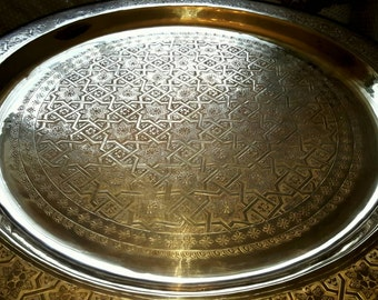 Large Moroccan Brass table