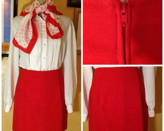 red 1980s skirt size 7/8