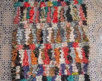 Boucherouite rug | Boucherouite | rag rug | berber rug | teppich | geometric rugs | Moroccan rug | colorful rug C33