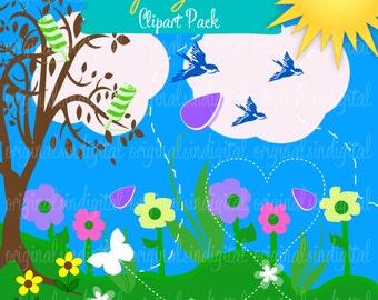 80% OFF SALE Springtime clipart birds, flowers, tree, sun, commercial use, vector graphics, digital clip art, digital images - pack 32