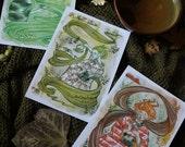 Japanese Tea Fairies*SET of 3 POSTCARDS