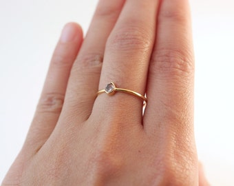 Herkimer Diamond Ring Gold | Gold Rings | Herkimer Diamond | Rings With Stones | Diamond Rings | Stacking Rings | Bridesmaid Rings